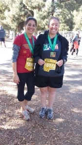 Courtney and I finished our half marathon relay! Notice how relieved, happy, and amazed we look!