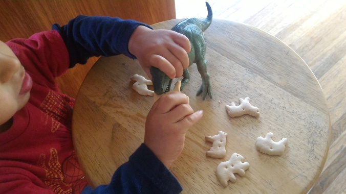 Feeding his toy dinosaur.